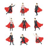 Cartoon Businessman Superhero Characters Icon Set. Vector. Cartoon Businessman Superhero Characters Icons Set Leader Concept Element Flat Design Style. Vector Royalty Free Stock Photography