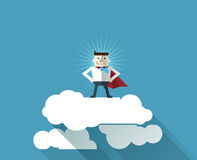 Cartoon businessman Superhero with a red cape on cloud Stock Photography