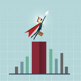 Cartoon businessman Superhero with a red cape, flying on chart Royalty Free Stock Photos