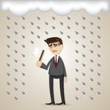 Cartoon businessman surrender with white flag Stock Image