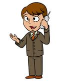 Cartoon businessman talking with cell phone Stock Photography