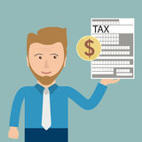 Cartoon Businessman Tax Dollar. Businessman with tax form and dollar coin Stock Photography
