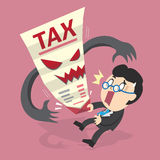 Cartoon businessman and tax letter. For design Royalty Free Stock Photo