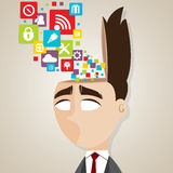 Cartoon businessman with technology icons in his head Stock Images