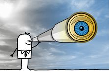 Businessman with Telescope and Big Eye royalty free stock photos