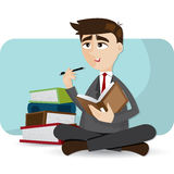 Cartoon businessman thinking with book Stock Photography