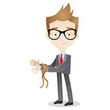 Cartoon businessman tied hands pondering Stock Image