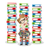 Cartoon businessman tied stack of binders paperwork Stock Photo