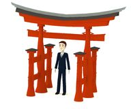 Cartoon businessman with torii gate Stock Photo