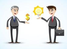 Cartoon businessman trading idea. Illustration of cartoon businessman trading idea stock illustration