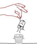 Cartoon businessman - trash can Stock Photo