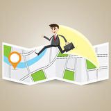 Cartoon businessman travel over map to destination Stock Image