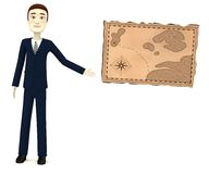 Cartoon businessman with treasure map Stock Photography