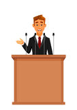 Cartoon businessman at tribune with microphones Royalty Free Stock Photography