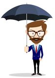 Cartoon businessman with umbrella, vector Royalty Free Stock Photos