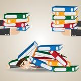 Cartoon businessman under pile of folder Royalty Free Stock Image