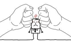 Cartoon businessman - under pressure Royalty Free Stock Image