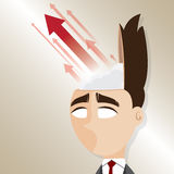 Cartoon businessman with up arrow from his head Stock Images