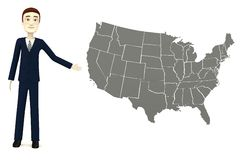 Cartoon businessman with US map Stock Photography