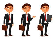 Cartoon businessman in various poses Royalty Free Stock Photography
