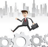 Cartoon businessman walking on gear way. Illustration of cartoon businessman walking on gear way.working routine concept Royalty Free Stock Photos
