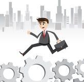 Cartoon businessman walking on gear way. Illustration of cartoon businessman walking on gear way.working routine concept royalty free illustration