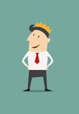 Cartoon businessman wearing a crown Royalty Free Stock Image