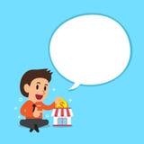 Cartoon a businessman with white speech bubble Stock Photo