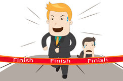 A cartoon businessman is winning his competitor in business race vector Stock Images