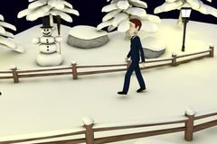 Cartoon businessman in winter scenery Royalty Free Stock Images