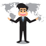 Cartoon Businessman And World Map Background. Stock Image