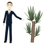 Cartoon businessman with yucca. 3d render of cartoon businessman with yucca stock illustration
