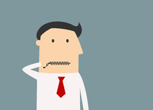 Cartoon businessman zipping his mouth Royalty Free Stock Photography