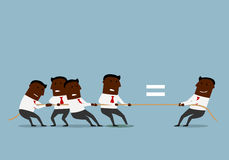 Cartoon businessmen competing in tug of war Royalty Free Stock Photography
