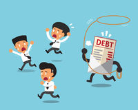 Cartoon businessmen and debt letter. For design Royalty Free Stock Images