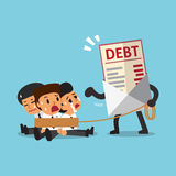 Cartoon businessmen with debt letter. For design Royalty Free Stock Image