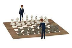 Cartoon businessmen playing chess Stock Photography
