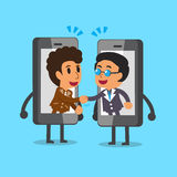 Cartoon businessmen shaking hands by smartphone Royalty Free Stock Image