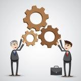 Cartoon businessmen working together. Illustration of cartoon businessmen holding gear.concept working together royalty free illustration