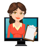 Cartoon businesswoman appears from TV. Cute character. Vector illustration isolated on white background Royalty Free Stock Photos