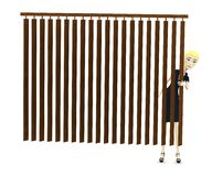 Cartoon businesswoman behind curtain Royalty Free Stock Photography