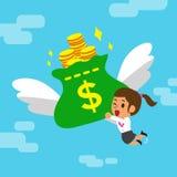 Cartoon businesswoman and big money bag Stock Photos