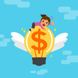 Cartoon businesswoman and big money idea Royalty Free Stock Images