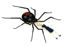 Cartoon businesswoman with black widow spider Royalty Free Stock Images