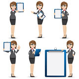 Cartoon businesswoman with blank board set Royalty Free Stock Image