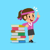 Cartoon businesswoman and books Stock Photography