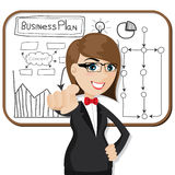 Cartoon businesswoman with business plan Stock Photo