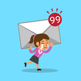Cartoon businesswoman carrying big mail icon Stock Images