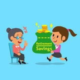 Cartoon businesswoman carrying retirement savings bag for old woman. For design Royalty Free Stock Photo