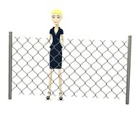 Cartoon businesswoman with chain fence Stock Photo